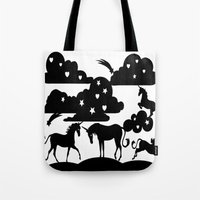 unicorns Tote Bags featuring unicorns by Paper cut and Printed with love