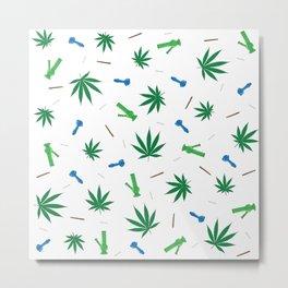 Cannabis & Paraphernalia Pattern Metal Print