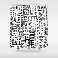 cityscape Shower Curtains featuring Cityscape Doodling by Laurel Mae