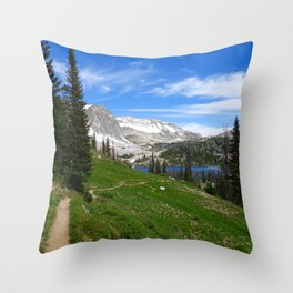 Scenic Hiking Trail Snowy Range Mountain Summit Wyoming  Throw Pillow