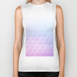 Pastel Cube Pattern Ombre 1 - pink, blue and vi Biker Tank