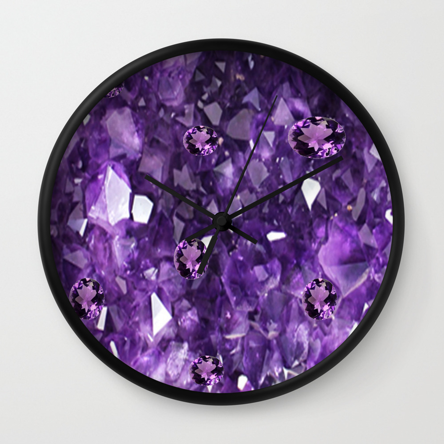 February Purple Amethyst Gems Crystals Birthstone Wall Clock By Sharlesart Society6