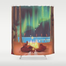 vintage camp fire Shower Curtain