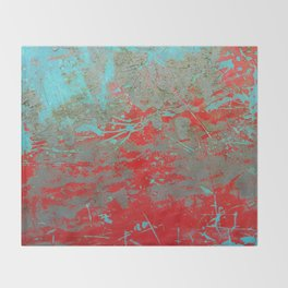 texture - aqua and red paint Throw Blanket