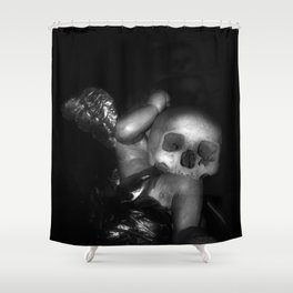 Kostnice Beinhaus Skull Angel Shower Curtain