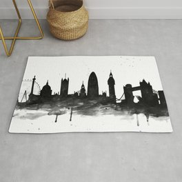 London, black and white Rug