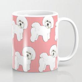 Bichon Frise on coral Coffee Mug