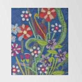 Cozy Felted Wool Flower Garden Throw Blanket