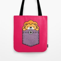 pocket Tote Bags featuring Pocket Lion by Steven Toang