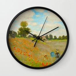 Claude Monet Impressionist Landscape Oil Painting Poppy Field Wall Clock
