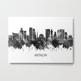 Antalya Turkey Skyline BW Metal Print