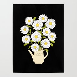 bouquet of camomiles in the vase on the black Poster