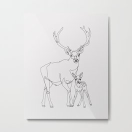 Bambi & Stag Metal Print