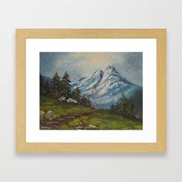 Landscape Forrest and Mountains Framed Art Print