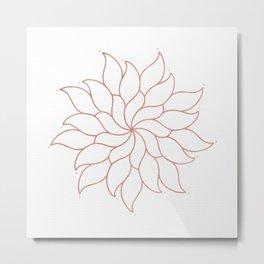 Mandala Flowers Rose Gold on White Metal Print