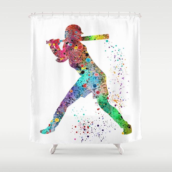 Baseball Softball Player Sports Art Print Watercolor Girls Shower Curtain