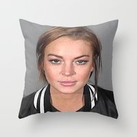 lindsay lohan Throw Pillows featuring Lindsay Lohan by Neon Monsters