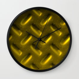 Dirty checkered gold plate Wall Clock