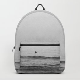 Surfers - Black and White Ocean Photography Huntington Beach California Backpack