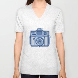 I Still Shoot Film Holga Logo - Reversed Blue Unisex V-Neck