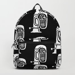 Tuba Pattern Black and White Backpack