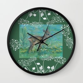 Roe on the spring meadow Wall Clock
