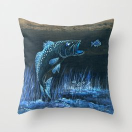 Trout Attack In Blue Throw Pillow