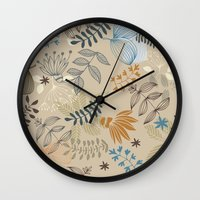 floral pattern Wall Clocks featuring Floral pattern by De Assuncao création
