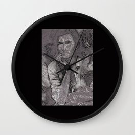 Black & White 1930's OLd Woman Pencil Drawing Photo Wall Clock