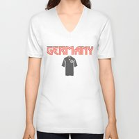 germany V-neck T-shirts featuring Go Germany! by Bunhugger Design
