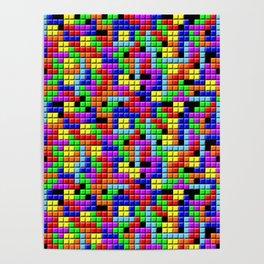 Tetris Inspired Retro Gaming Colourful Squares Poster