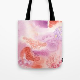 Herb Song in Lavender with Mugwort Contemporary Abstract Watercolor Painting Tote Bag