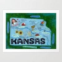 kansas city Art Prints featuring KANSAS by Christiane Engel