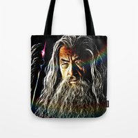 gandalf Tote Bags featuring Gandalf by D77 The DigArtisT