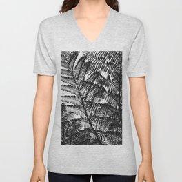 Black and White Fern Silhouette Pattern Unisex V-Neck