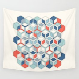 Soft Red, White & Blue Hexagon Pattern Play Wall Tapestry