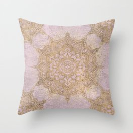 Rose gold sparkling mandala pattern Throw Pillow
