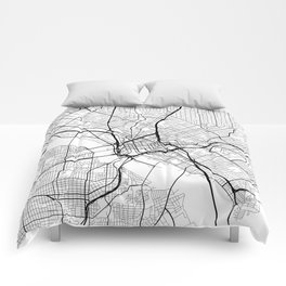 Dallas Map, USA - Black and White Comforters
