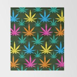 Colorful Marijuana weed Throw Blanket