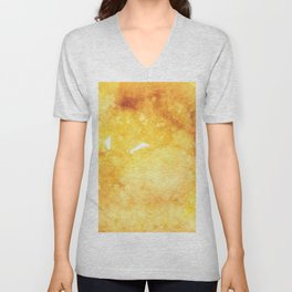 Watercolor yellow orange hand painted abstract pattern Unisex V-Neck