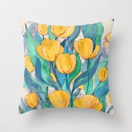 Blooming Golden Tulips in Gouache Throw Pillow