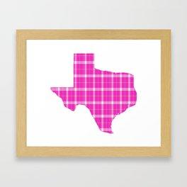 Texas State Shape: Pink Framed Art Print