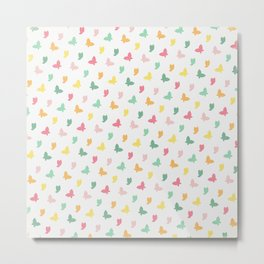 Cute and Colorful Whimsical Butterflies Pattern Metal Print