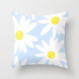 Beautiful White Retro Daisy Flowers Pastel Blue Background #decor #society6 #buyart Throw Pillow