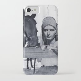 Statue Woman and Her Horse iPhone Case
