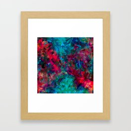 psychedelic geometric triangle abstract pattern in pink red blue Framed Art Print