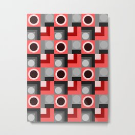 Pink and Grey Geometric Metal Print
