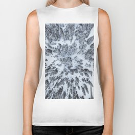 The Evergreen Forest Aerial (Black and White) Biker Tank