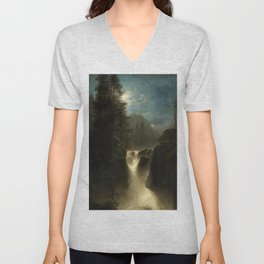 Waterfall in the Italian Countryside by Oswald Achenbach Unisex V-Neck