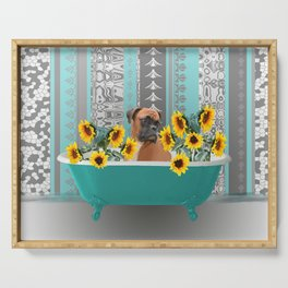 Turquoise Bathtub with Boxer dog and sunflowers Serving Tray
